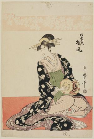 Kitagawa Utamaro: Matsukaze of the Matsubaya, from an untitled series of courtesans of the Matsubaya as Five Musicians - Museum of Fine Arts