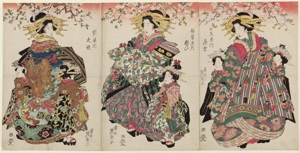 渓斉英泉: Usuyuki of the Tamaya (R), Yosooi of the Matsubaya (C), and Ôyodo of the Tsuruya - ボストン美術館