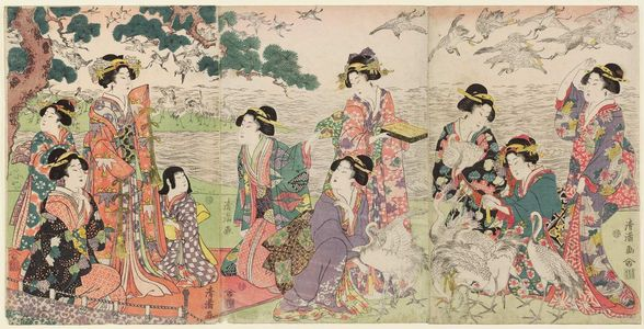 Torii Kiyomine: Parody of the Story of Yoritomo Releasing Cranes at Yuigahama - Museum of Fine Arts