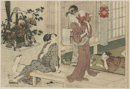 Kitagawa Utamaro: Bon Lanterns and Potted-plant Vendor, from Vol. 2 of the book Ehon shiki no hana (Flowers of the Four Seasons) - Museum of Fine Arts