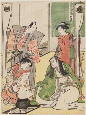 Torii Kiyonaga: Scene at a Dyer's Shop (Kôya no dan), from the series The Tale of Shiraishi, a Latter-day Taiheiki (Go-Taiheiki Shiraishi banashi) - Museum of Fine Arts