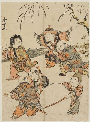 鳥居清長: Chinese Boys Playing in Snow, from an untitled series of Chinese Children (Karako) - ボストン美術館