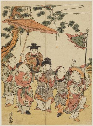 Torii Kiyonaga: Boys Imitating the Procession of a Ryukyuan Ambassador, from an untitled series of Chinese Children (Karako) - Museum of Fine Arts