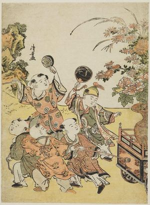 Torii Kiyonaga: Chinese Boys Pulling a Flower Float, from an untitled series of Chinese Children (Karako) - Museum of Fine Arts