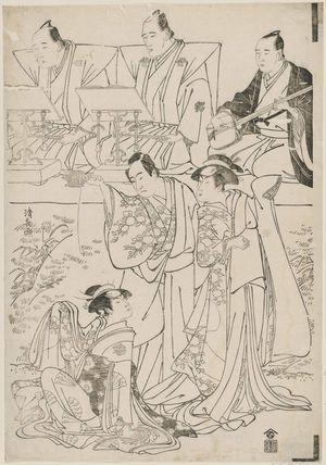 鳥居清長: Actors Sawamura Sôjûrô III as Ôtomo Hitachinosuke, Yamashita Mangiku as Shizuhata-hime, and Segawa Kikunojô III as Koito, with chanters Tomimoto Buzendayû and Tomimoto Itsukidayû, and accompanist Namizaki Tokuji - ボストン美術館