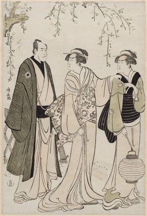 Torii Kiyonaga: Actors Nakamura Rikô as the Geisha Otsuma of Tanbaya (C), Ichikawa Danjuro V as Koguya Yahei (L), and an unidentified actor as the maid (R) - Museum of Fine Arts