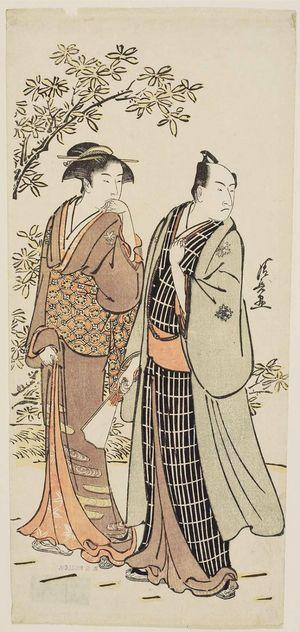 鳥居清長: Actor Ichikawa Monnosuke II and His Wife - ボストン美術館