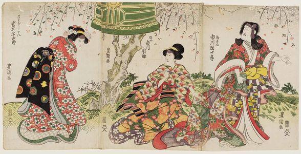 Utagawa Toyokuni I: Actors Ichikawa Danjûrô as Matsuwakamaru (R), Ichikawa Dannosuke (C), and Iwai Hanshirô (L) - Museum of Fine Arts