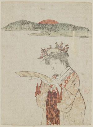 窪俊満: Palace Maidservant Looking at a Tanzaku - ボストン美術館