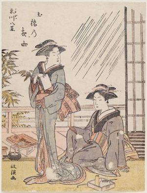 Kitao Masanobu: Night Rain at Dobashi (Dobashi no yau), from the series Eight Views of Fukagawa (Fukagawa hakkei) - ボストン美術館