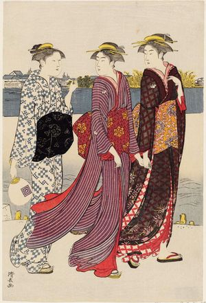Torii Kiyonaga: Enjoying the Evening Cool on the Banks of the Sumida River - Museum of Fine Arts