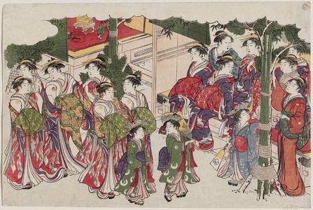 鳥居清長: First Costumes of the New Year (Kiso hajime), from the album Saishiki mitsu no asa (Colors of the Triple Dawn) - ボストン美術館