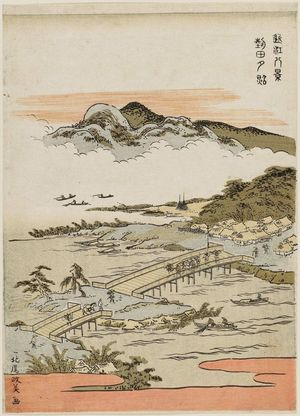 北尾政美: Sunset Glow at Seta (Seta sekishô), from the series Eight Views of Ômi (Ômi hakkei) - ボストン美術館