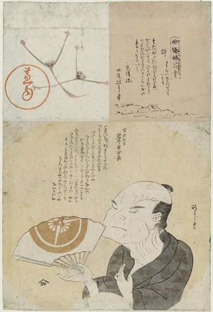 北尾政美: Portrait of man with fan; text. Parts of Album mounted together. - ボストン美術館