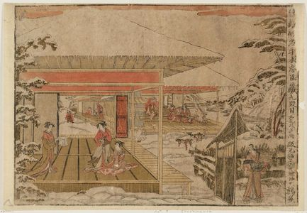 北尾政美: Act IX (Kudanme), from the series Perspective Pictures of the Storehouse of Loyal Retainers, a Primer (Uki-e Kanadehon Chûshingura) - ボストン美術館