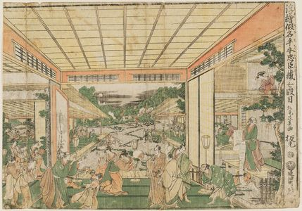 北尾政美: Act VII (Shichidanme), from the series Perspective Pictures of the Storehouse of Loyal Retainers, a Primer (Uki-e Kanadehon Chûshingura) - ボストン美術館