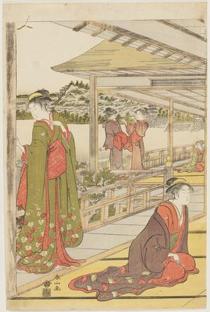 Katsukawa Shunzan: On veranda of teahouse overlooking the sea. Triptych. - Museum of Fine Arts