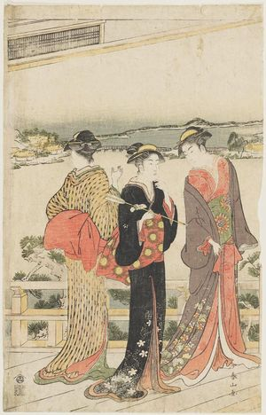 勝川春山: On veranda of teahouse overlooking the sea. Triptych. - ボストン美術館