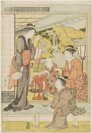 勝川春山: Three women and child on veranda - ボストン美術館