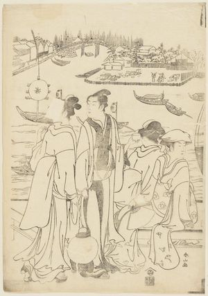 Katsukawa Shunzan: Watching Fireworks at Ryôgoku Bridge - Museum of Fine Arts