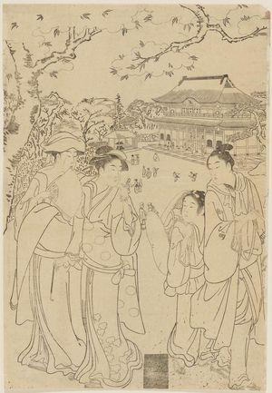 Katsukawa Shunzan: Gathering on top of hill overlooking shrine - Museum of Fine Arts