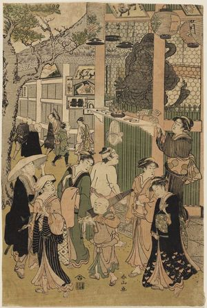 Katsukawa Shunzan: Visiting a temple - Museum of Fine Arts