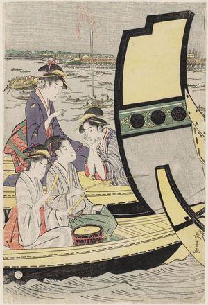 長喜: Summer Boating Parties at Ryôgoku Bridge - ボストン美術館