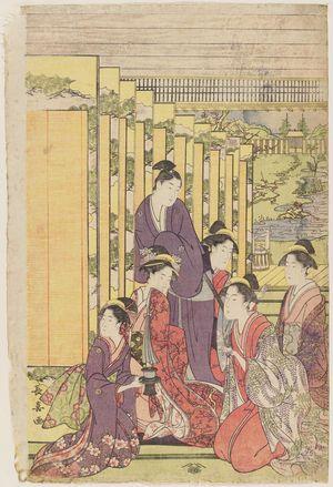 Eishosai Choki: Ladies Watching a Manzai Performance at a Mansion - Museum of Fine Arts