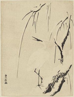 Utagawa Toyohiro: White Heron and Snowy Willow Tree - Museum of Fine Arts