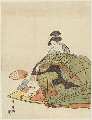 Utagawa Toyohiro: Mother lifts netting above sleeping child - Museum of Fine Arts
