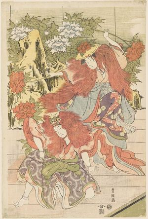 Utagawa Toyokuni I: Private Performance of Women's Kabuki: Shakkyô - Museum of Fine Arts