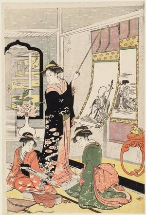 Hosoda Eishi: Women Viewing Scroll Paintings of the Gods of Good Fortune - Museum of Fine Arts
