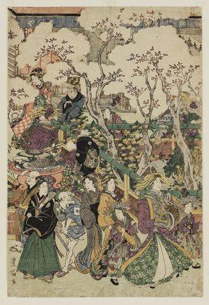 Utagawa Toyokuni I: Sheet 5 of Cherry Blossoms in the New Yoshiwara, a Pentaptych (Shin Yoshiwara sakura no keshiki, gomai tsuzuki) - Museum of Fine Arts