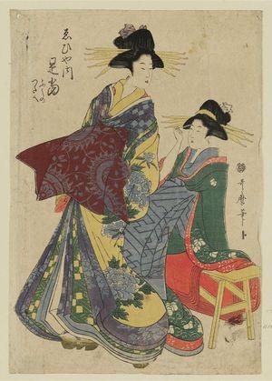 Kitagawa Utamaro: Sokuman of the Ebiya, kamuro Fumino and Tsutae - Museum of Fine Arts