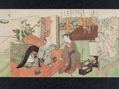 鈴木春信: No. 13 from the erotic series The Amorous Adventures of Mane'emon (Fûryû enshoku Mane'emon) - ボストン美術館