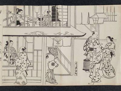 奥村政信: Edo-machi in the Yoshiwara (Yoshiwara Edo-machi), from an untitled series of a visit to the Yoshiwara (known as Series L) - ボストン美術館