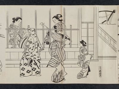 Okumura Masanobu: Yoshiwara Nichôme, from an untitled series of a visit to the Yoshiwara (known as Series L) - Museum of Fine Arts
