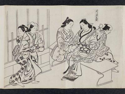 奥村政信: Kyô-machi in the Yoshiwara (Yoshiwara Kyô-machi), from an untitled series of a visit to the Yoshiwara (known as Series L) - ボストン美術館
