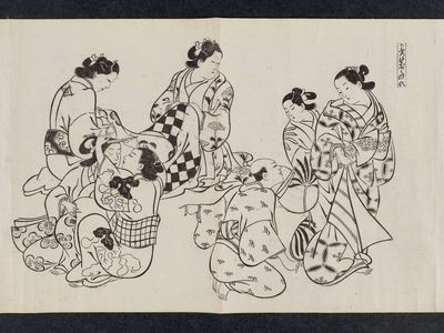 奥村政信: The Coming of Age of a Kamuro (Kaburo genpuku no tei), from an untitled series of a visit to the Yoshiwara (known as Series L) - ボストン美術館