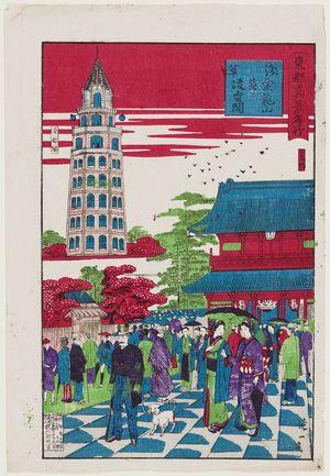 渡辺延一: Asakusa: Kinryûzan Temple and Ryôunkaku, from the series True Views of Famous Places in Tokyo (Tôkyô shinkei meisho) - ボストン美術館