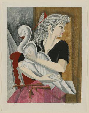 関野準一郎: A Girl and Her Swan (Artist's daughter, Ayuko) - ボストン美術館