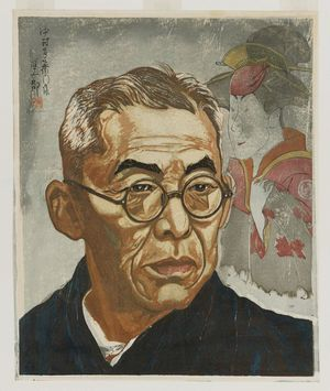 Sekino Jun'ichiro: Portrait of the Kabuki actor Nakamura Kichiemon, with a picture in the background of Segawa Tomisaburo II as Yadogiri after a woodblock print by Sharaka - Museum of Fine Arts