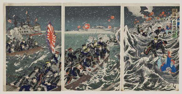 Utagawa Kokunimasa: Illustration of the Fierce Battle for the Occupation of Weihaiwei (Ikaiei senryô dai gekisen no zu) - ボストン美術館