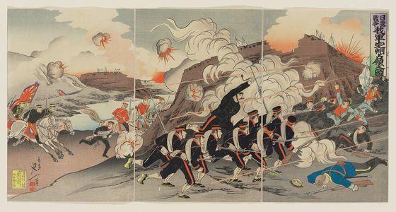 渡辺延一: Russo Japanese War: Picture of Our Troops' Occupation of Chongju [Jap. Teishu/Ch. Dingzhou] - ボストン美術館