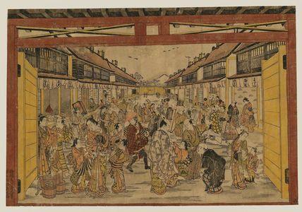 Torii Kiyotada I: The Main Gate, New Yoshiwara (Shin Yoshiwara Ômon-guchi) - Museum of Fine Arts