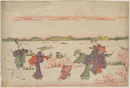 Katsukawa Shunko: Viewing Cherry Blossoms at Mukôjima - Museum of Fine Arts