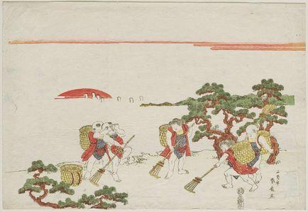 Katsukawa Shunko: Children Raking Pine Needles - Museum of Fine Arts