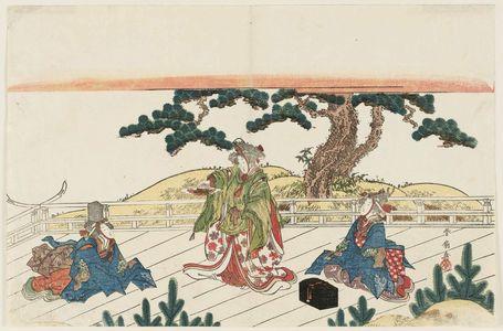 勝川春好: Women Dancing Sanbasô - ボストン美術館