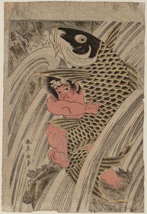 Katsukawa Shuntei: Oniwakamaru and Carp in Waterfall - Museum of Fine Arts
