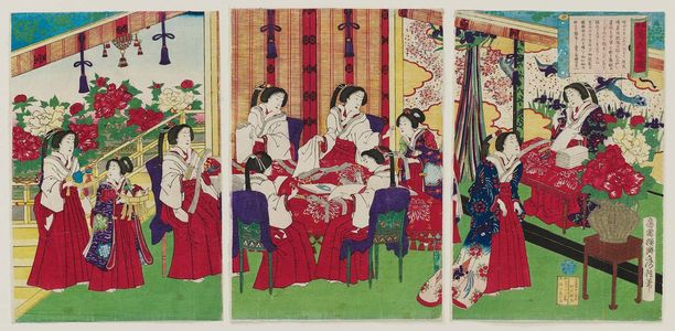 歌川房種: The Whole Nation Living in Perfect Contentment: Empress and Ladies in Waiting Making Cotton Strings (Banmin kofuku) - ボストン美術館
